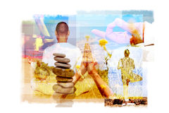 Multiple exposures of a yogi in different yoga positions Royalty Free Stock Photography