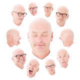 Multiple faces of a bald man Royalty Free Stock Image
