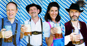 Multiple faces of bavarian people with beer mugs Stock Image