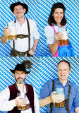 Multiple faces of bavarian people with beer mugs Stock Images