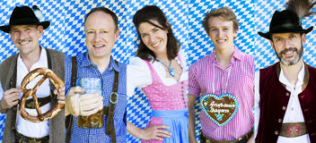 Multiple faces of bavarian people Stock Photos