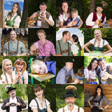 Multiple faces of bavarian people Royalty Free Stock Photo