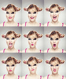 Multiple faces expressions Royalty Free Stock Photos