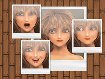 Multiple faces on photo cards Royalty Free Stock Image