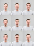 Multiple facial expressions Stock Photo