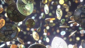 Multiple falling bitcoin tokens. 3D rendering Stock Photo