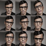 Multiple fashion and fancy male portraits stock images