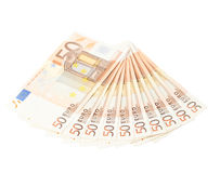 Multiple fifty euro bank notes Stock Photography