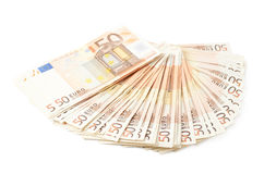 Multiple fifty euro bank notes Royalty Free Stock Photography