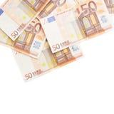 Multiple fifty euro bank notes Royalty Free Stock Photos