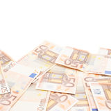 Multiple fifty euro bank notes Stock Images
