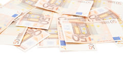 Multiple fifty euro bank notes Stock Photos