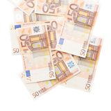Multiple fifty euro bank notes Stock Photo