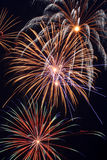 Multiple Firework Bursts. Several colorful Fourth of July fireworks in full bloom stock photography