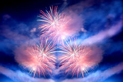 Multiple fireworks. In the sky Stock Photos