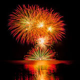 Multiple fireworks. Bouquet of multiple fireworks bursting in different colors Stock Images
