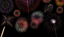 Multiple fireworks display background Stock Photos