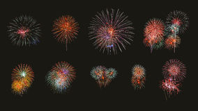 Multiple fireworks exploding high in the sky can use for backgro Stock Photo