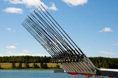 Multiple Fishing Rods. On Lake Royalty Free Stock Photo