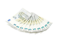 Multiple five euro bank notes Stock Photography