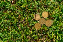 Rupiah coin money on green grass. Multiple five hundred Indonesia Rupiah coin money on green grass Royalty Free Stock Photo