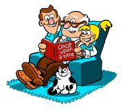 Multiple generations of family cartoon. Cartoon caricature of grandfather, father and daughter sitting in easy chair reading a book with pet cat Stock Photo