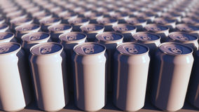 Multiple generic aluminum cans, shallow focus. Soft drinks or beer production. Recycling packaging. 3D rendering royalty free stock photography