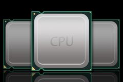Multiple Generic CPU Chips - Labeled Stock Image