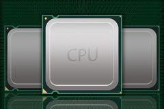 Multiple Generic CPU Chips Moving Data - Labeled Stock Photography