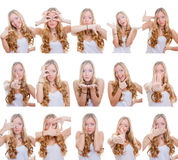 Multiple gestures or signs. Woman with different facial expressions and gestures or signs royalty free stock photos