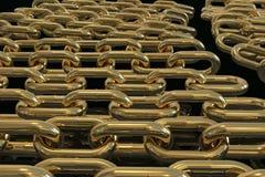 Multiple golden chains 3D rendering. On a black background royalty free illustration