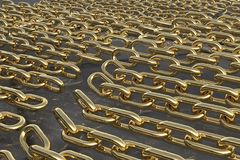 Multiple golden chains 3D rendering. On a gray background vector illustration