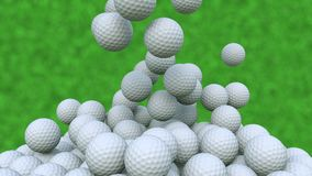 Multiple golf balls falling down against green grass background, 3D rendering stock illustration