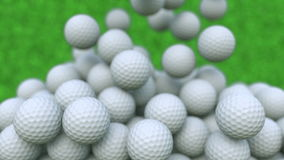 Multiple golf balls falling down, shallow focus. 3D rendering. Multiple golf balls falling down Royalty Free Stock Photos