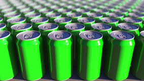 Multiple green aluminum cans, shallow focus. Soft drinks or beer production. Recycling packaging. 3D rendering royalty free stock photography