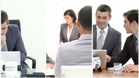 Multiple hd shots of an office environment dominated by men stock video