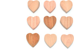 Multiple heart-shaped timber Stock Photos