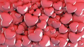 Multiple hearts and gifts arranged on the floor seen from top view. Multiple sized hearts laying on the floor side by side Royalty Free Stock Photo