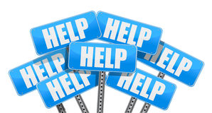 Multiple help signs illustration Royalty Free Stock Image