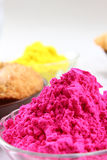 Multiple holi colors in bowl Royalty Free Stock Photos