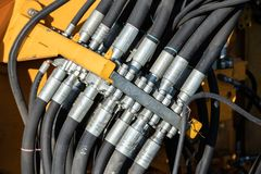 Multiple hydraulic connectors in a switch box royalty free stock photos
