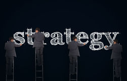 Multiple image of a businessman writing strategy royalty free stock photo