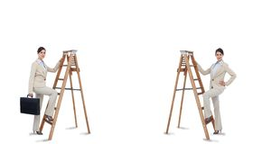 Multiple image of businesswoman climbing ladder Royalty Free Stock Photo