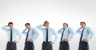 Multiple image of confused businessman against white background Royalty Free Stock Photos