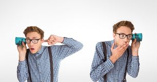 Multiple image of man listening through glass Royalty Free Stock Photo