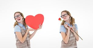 Multiple image of woman holding heart and rose over white background Stock Image
