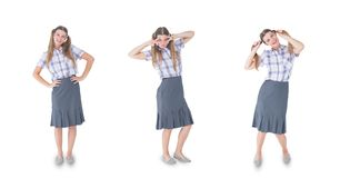 Multiple image of woman with various expressions Stock Photos