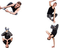 Multiple image of young man break dancing Royalty Free Stock Images