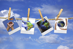 Multiple Images Relating to Global Issues Hanging Royalty Free Stock Photos