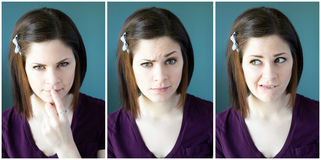 Multiple images of a young woman Royalty Free Stock Photo